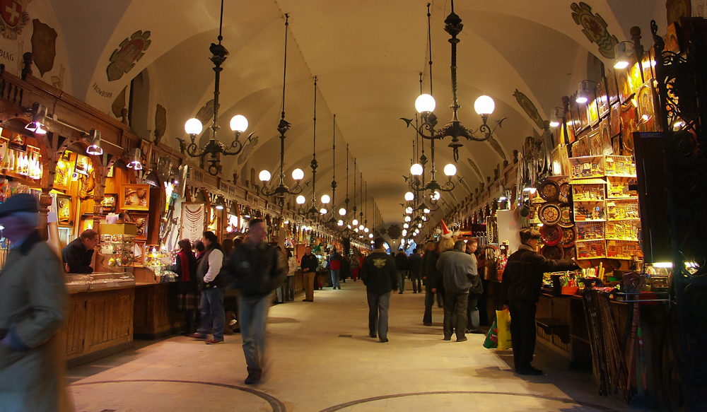 Stalls inside the Sukiennice