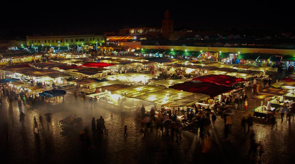 Evening food market at Jemaa el Fna, Marrakech.
