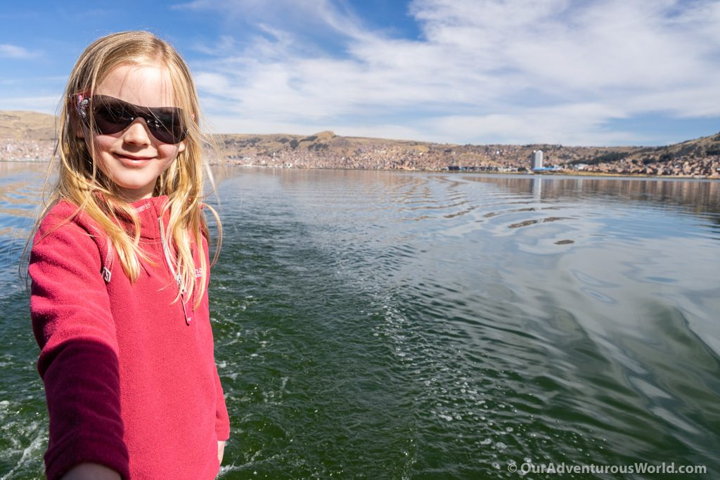 Sailing out to the Uros Islands, Lake Titicaca
